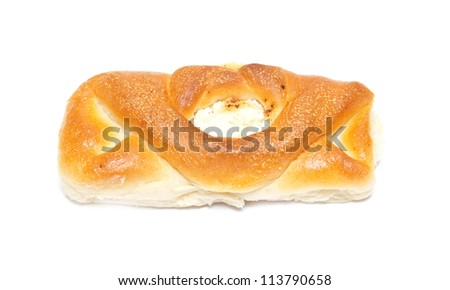 bun with cheese on a white background