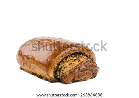 bun with poppy seeds - stock photo