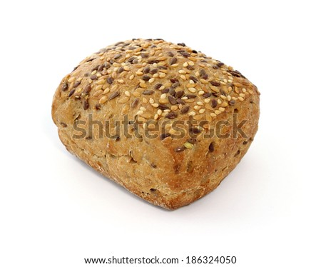 bun with seeds isolated on white background - stock photo