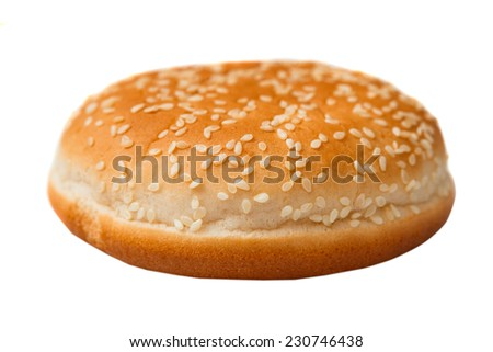 bun with sesame seeds for a hamburger isolated on white background - stock photo