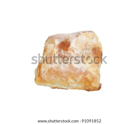 bun with sugar isolated on a white background
