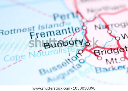 Bunbury Australia On Map Stock Photo 1033030390 Shutterstock