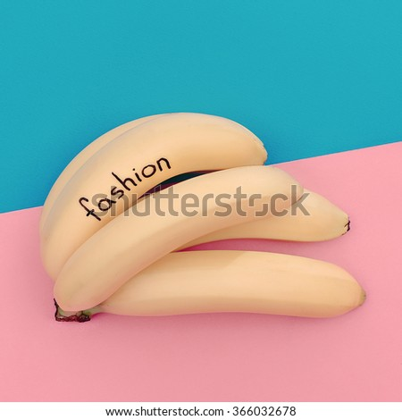 Bunch Bananas fashion. Minimalism photo. Pastel colors - stock photo