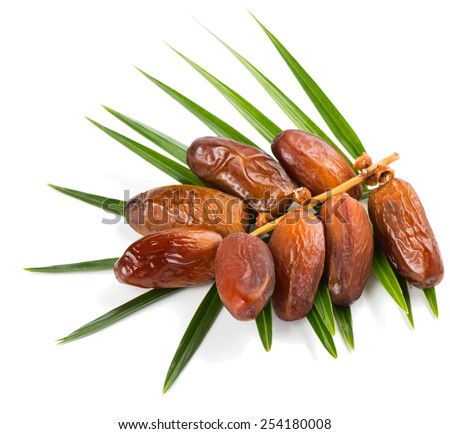 bunch of a dried dates with palm leaf isolated on white background - stock photo