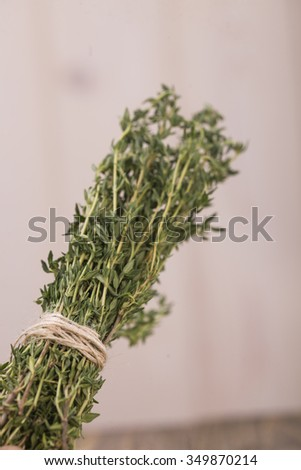 Bunch of aromatic herb condiment rosemary herbal natural ingredient with piquant flavour domestic eco product tied by rope on light blur background closeup indoor, vertical picture - stock photo