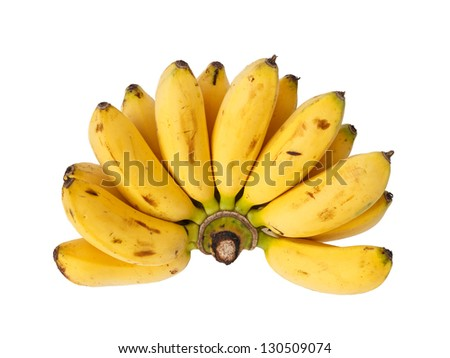 Bunch of baby banana isolated on white background - stock photo