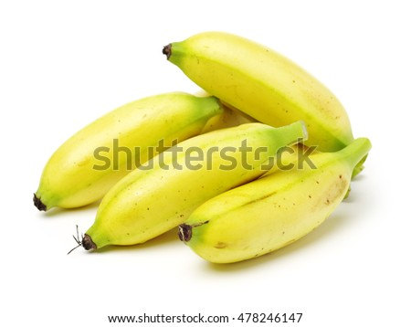 Bunch of baby banana isolated on white background