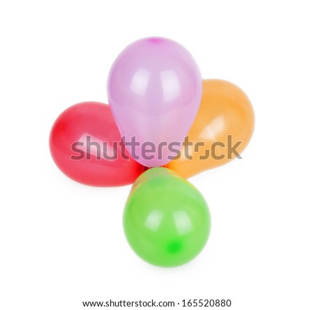 bunch of balloons isolated on white background - stock photo