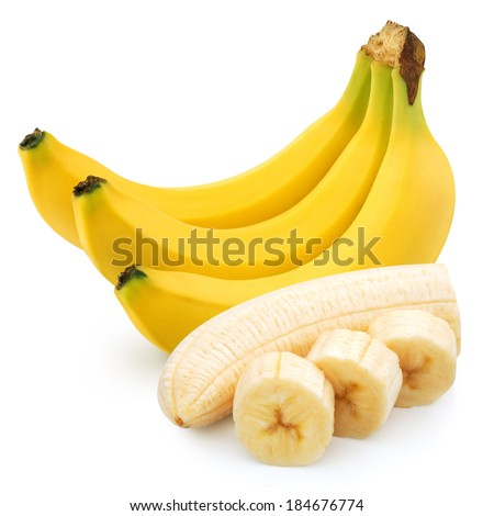 Bunch of bananas isolated on white background. Clipping Path - stock photo