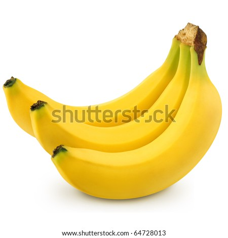Bunch of bananas isolated on white background + Clipping Path - stock photo