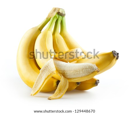 Bunch of bananas with open one isolated on white - stock photo