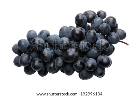 Bunch of black grapes on a white background, isolated  - stock photo