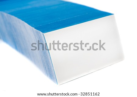 Bunch of blue business cards, with empty front card. Isolated on white background.
