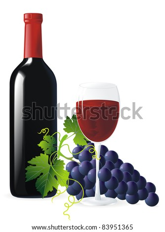 bunch of blue grapes with green leaves, bottle and glass of wine