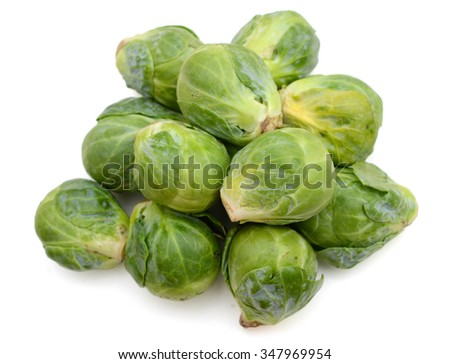 bunch of brussel sprouts on white background  - stock photo