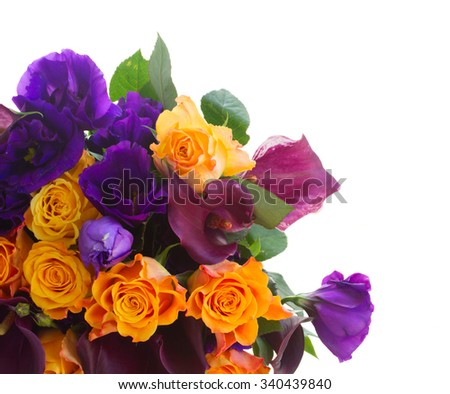 Bunch of calla lilly, roses and eustoma flowers border isolated on white background - stock photo