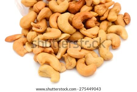 bunch of cashew nuts isolated on white