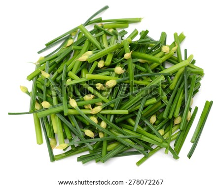 bunch of chives on white background