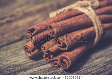 Bunch of cinnamon sticks. Christmas time