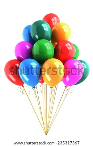 Bunch of colored balloons isolated on white background