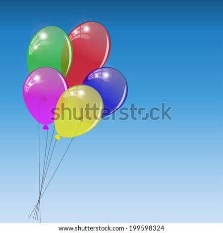 Bunch of colored balloons on sky background. - stock photo