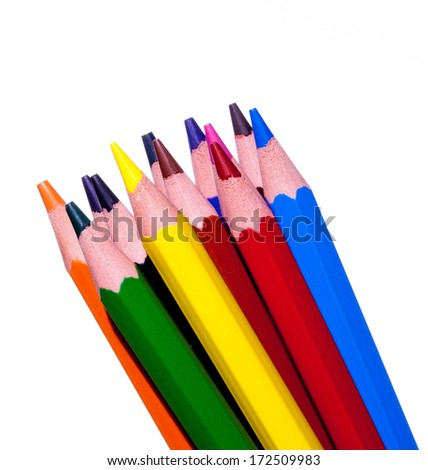 bunch of colored pencils highlight the primary colors