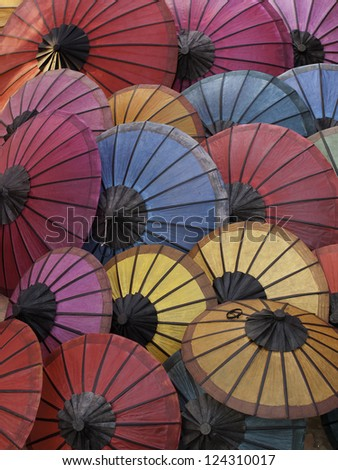 Bunch of colorful asian traditional umbrellas