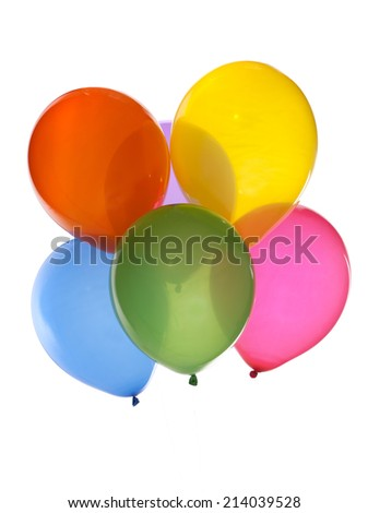 bunch of colorful balloons isolated on white - stock photo