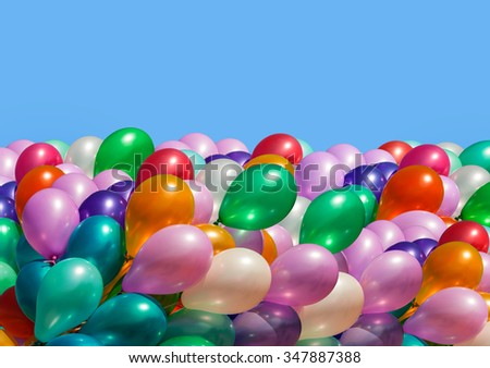 Bunch of colorful balloons isolated on white background - stock photo