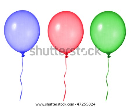bunch of colorful balloons isolated on white background