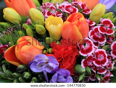 Bunch of colorful flowers - stock photo