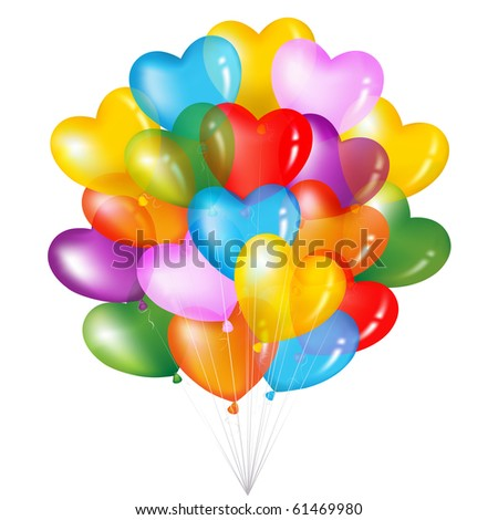 Bunch Of Colorful Heart Shape Balloons, Isolated On White