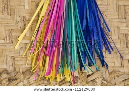 Bunch of colorful wickers, close-up