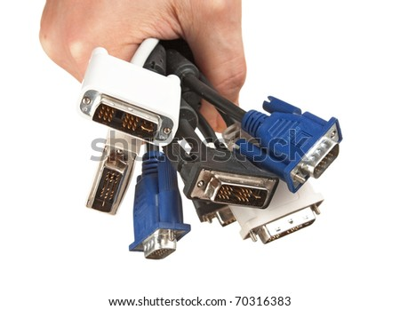 bunch of computer cables with  sockets in hand isolated on a white  background - stock photo