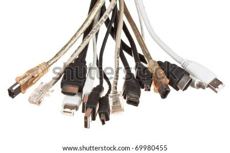 bunch of computer cables with sockets  isolated on a white  background - stock photo