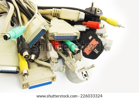 Bunch of Computer Cables with Sockets on White Background. - stock photo