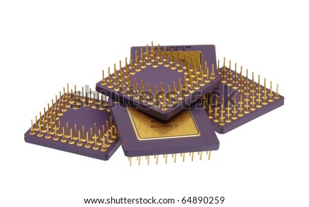 Bunch of computer chips isolated on a white background