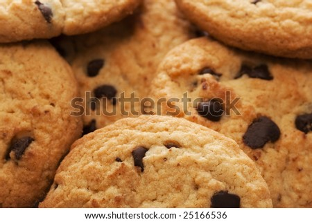 Bunch of cookies on a white background, Shallow depth of field.