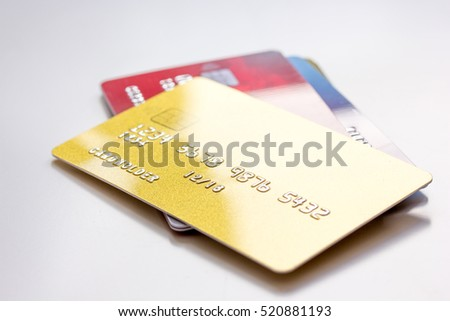 bunch of credit cards on white background online shopping