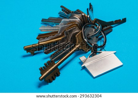 Bunch of different keys on blue background - stock photo