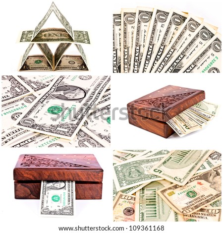 Bunch of dollars collage - stock photo