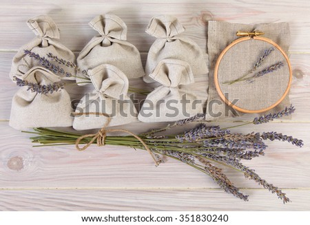 Bunch of dried lavender and lavender bag - stock photo