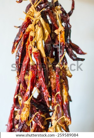 Bunch of dried red chili peppers. - stock photo