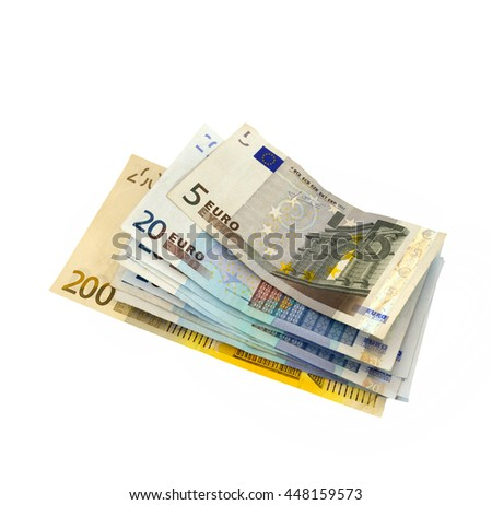 Bunch of Euro banknotes, isolated on white.