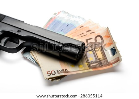 Bunch of euro banknotes of various denominations with a gun. Isolated on white - stock photo