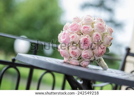 bunch of flower, pink roses on the table - stock photo