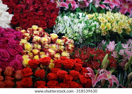 Bunch of flowers. Abstract background of flowers. Close-up.
