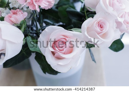 bunch of flowers with hydrangea, roses