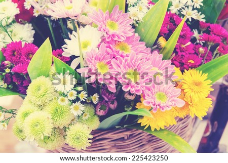 Bunch of flowers with retro filter effect - stock photo
