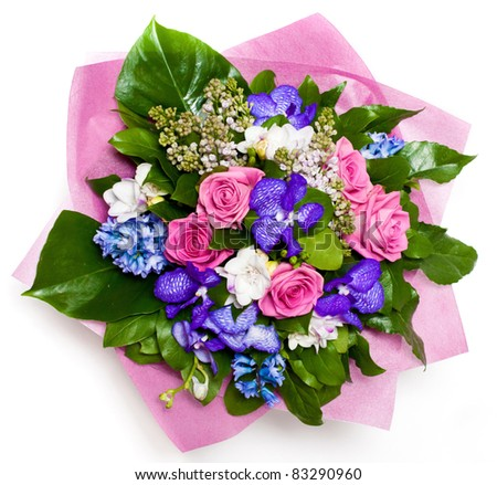 bunch of flowers with roses and lilac in vase - stock photo